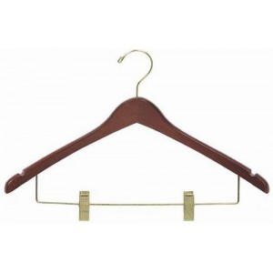 "17"" Curved Luxury Walnut Wooden Top Hanger w/ Clips"