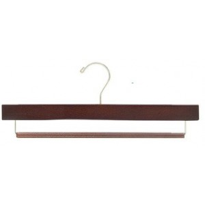 "15"" Slip-Defense Walnut/Chrome Pants Hanger"