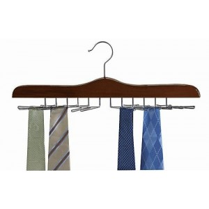 Never Slip Multi Tie Walnut/Chrome Wooden Hanger