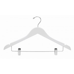 "17"" Space Saver White/Chrome Hanger w/ Clips"