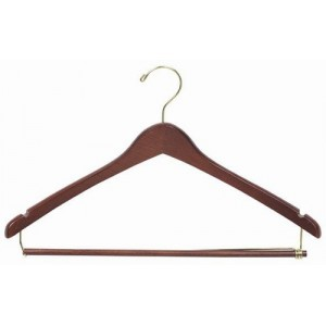 Professional Walnut Suit Hanger w/ Wooden Locking Pants Bar