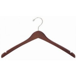 "17"" Curved Luxury Walnut/Chrome Wooden Top Hanger"