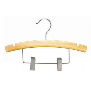 "14"" Notched Outfit Display Natural Wooden Children's Hanger"