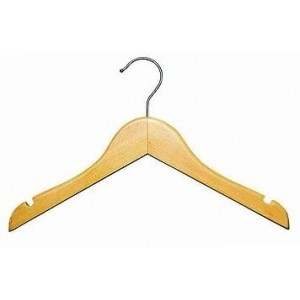 "11"" Classic Notched Natural Wooden Children's Shirt/Coat Hanger"