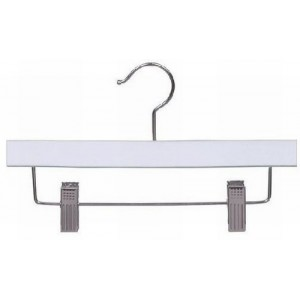 "10"" Matte White Wooden Children's Pant/Skirt Hanger"