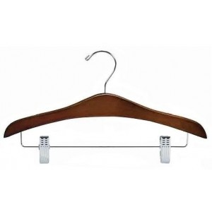 "16"" Curved Luxury Walnut/Chrome Wooden Top Hanger w/ Clips"
