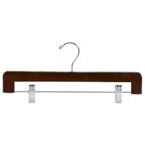 "9"" Secure Pant & Skirt Walnut/Chrome Clamp Hanger w/ Felt Pads"